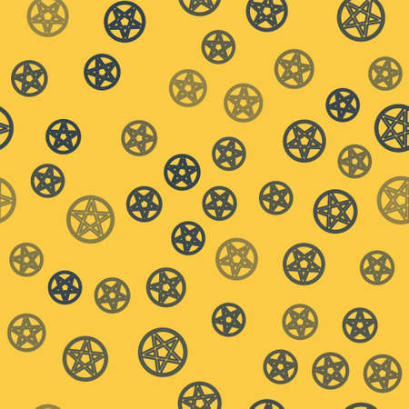 Blue line Pentagram in a circle icon isolated seamless pattern on yellow background. Magic occult star symbol. Vector Illustration.