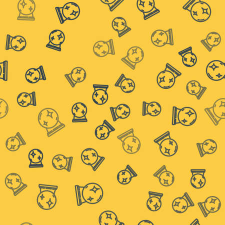 Blue line Magic ball icon isolated seamless pattern on yellow background. Crystal ball. Vector Illustration.