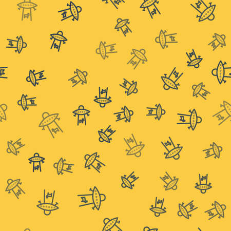 Blue line Planet icon isolated seamless pattern on yellow background. Vector Illustration.