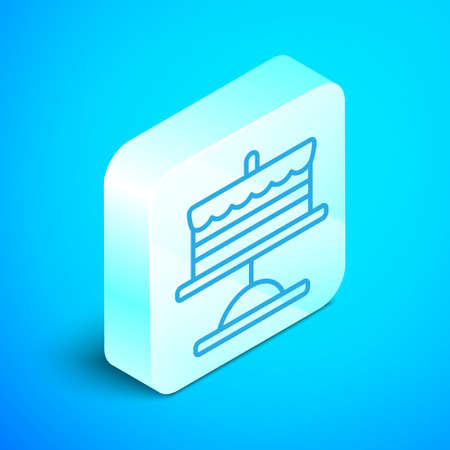 Isometric line Cake on plate icon isolated on blue background. Happy Birthday. Silver square button. Vector. Ilustração