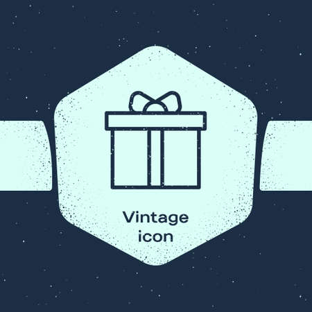Grunge line Gift box icon isolated on blue background. Happy Birthday. Monochrome vintage drawing. Vector.
