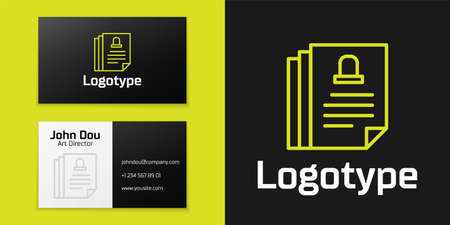 Logotype line Death certificate icon isolated on black background. Logo design template element. Vector.