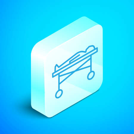 Isometric line Dead body in the morgue icon isolated on blue background. Silver square button. Vector. Vectores