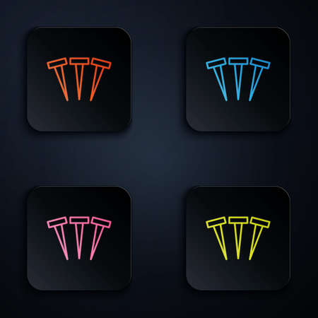 Color neon line Metallic nails icon isolated on black background. Set icons in square buttons. Vector.