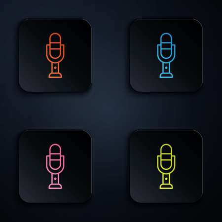 Color neon line Microphone icon isolated on black background. On air radio mic microphone. Speaker sign. Set icons in square buttons. Vector Illustration.