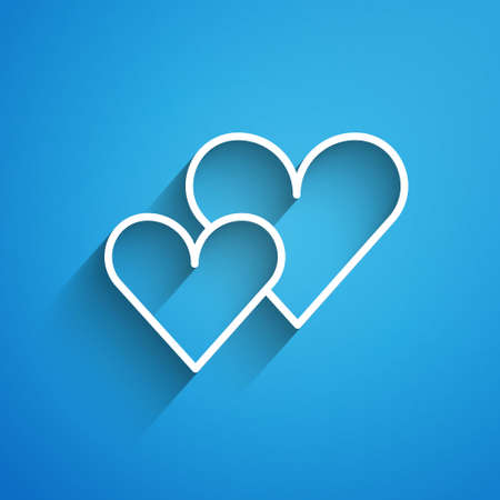 White line Heart icon isolated on blue background. Romantic symbol linked, join, passion and wedding. Valentine day symbol. Long shadow. Vector.