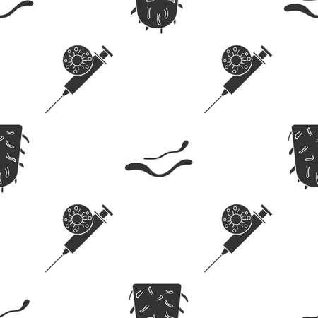 Set Rabies virus, Ebola virus disease and Syringe and virus on seamless pattern. Vector. Illustration