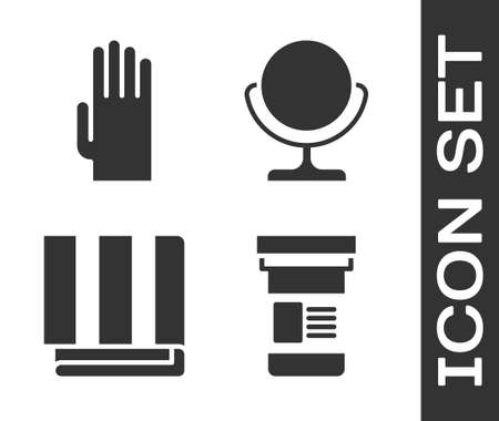 Set Medicine bottle, Rubber gloves, Towel stack and Round makeup mirror icon. Vector.