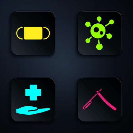Set Straight razor, Medical protective mask, Cross hospital medical and Virus. Black square button. Vector.