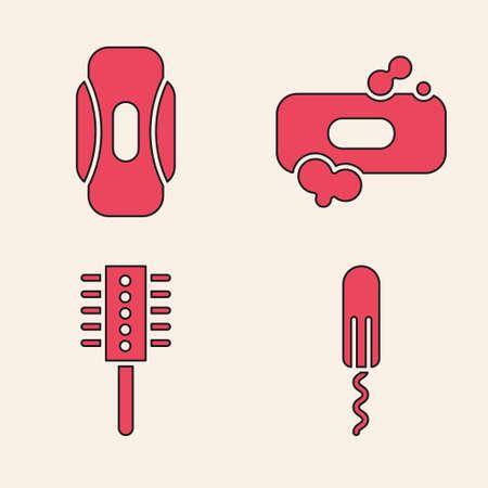 Set Sanitary tampon, Sanitary napkin, Bar of soap and Hairbrush icon. Vector.