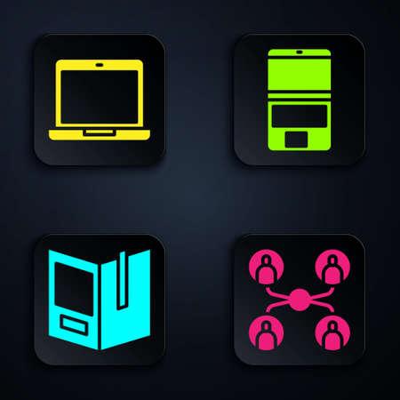Set Online class, Laptop, Open book and Laptop. Black square button. Vector.
