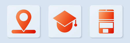Set Graduation cap on globe, Location and Laptop. White square button. Vector.