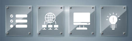 Set Light bulb with concept of idea, Computer monitor screen, Computer network and Task list. Square glass panels. Vector.