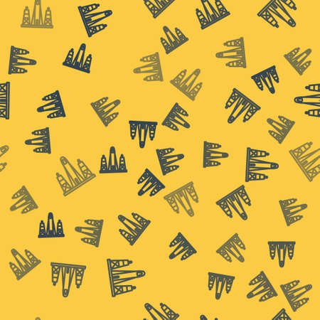 Blue line Rocket launch from the spaceport icon isolated seamless pattern on yellow background. Launch rocket in space. Vector Illustration. Ilustrace