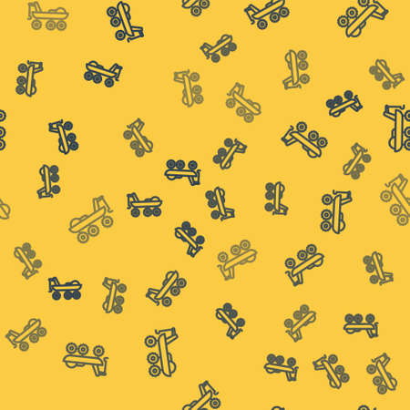 Blue line Mars-rover icon isolated seamless pattern on yellow background. Space-rover. Moonwalker sign. Apparatus for studying planets surface. Vector Illustration. Ilustrace