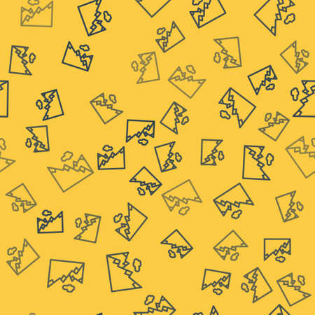 Blue line Mountains icon isolated seamless pattern on yellow background. Symbol of victory or success concept. Vector Illustration.
