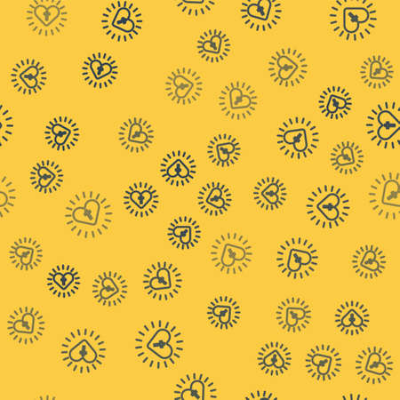 Blue line Christian cross and heart icon isolated seamless pattern on yellow background. Happy Easter. Vector Illustration. 向量圖像
