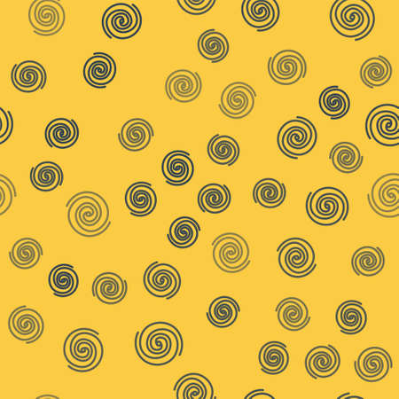Blue line Black hole icon isolated seamless pattern on yellow background. Space hole. Collapsar. Vector Illustration. Ilustrace