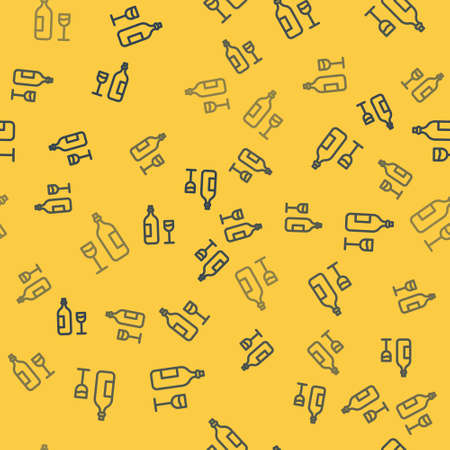 Blue line Wine bottle with wine glass icon isolated seamless pattern on yellow background. Happy Easter. Vector Illustration.