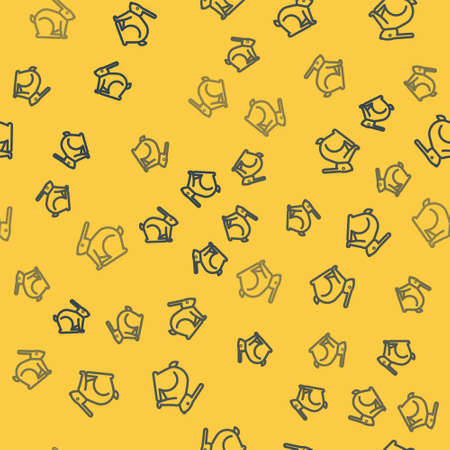 Blue line Easter rabbit icon isolated seamless pattern on yellow background. Easter Bunny. Vector Illustration.