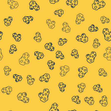 Blue line Asteroid icon isolated seamless pattern on yellow background. Vector Illustration.