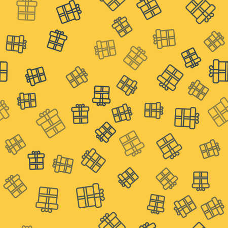 Blue line Gift box icon isolated seamless pattern on yellow background. Vector Illustration. 矢量图像