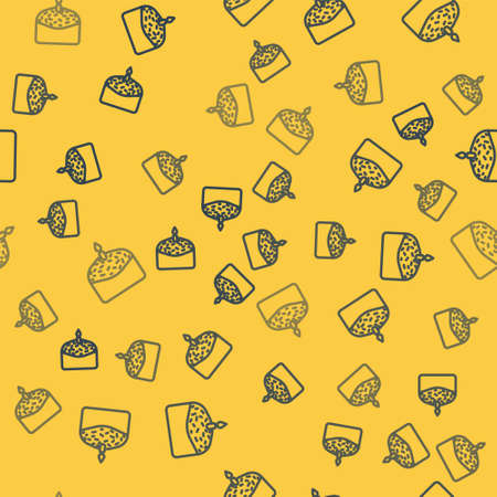 Blue line Easter cake and candle icon isolated seamless pattern on yellow background. Happy Easter. Vector Illustration. Çizim