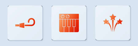 Set Music synthesizer, Birthday party horn and Firework. White square button. Vector.