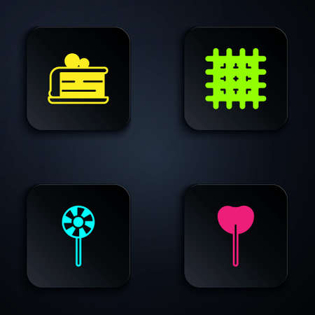 Set Lollipop, Piece of cake, and Cracker biscuit. Black square button. Vector.