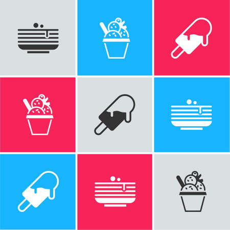 Set Stack of pancakes, Ice cream in bowl and icon. Vector.