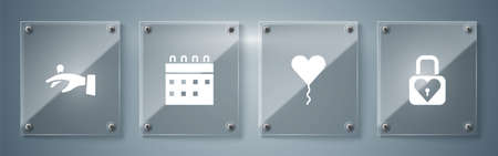 Set Lock and heart, Balloon in form of, Calendar and Wedding rings hand. Square glass panels. Vector.