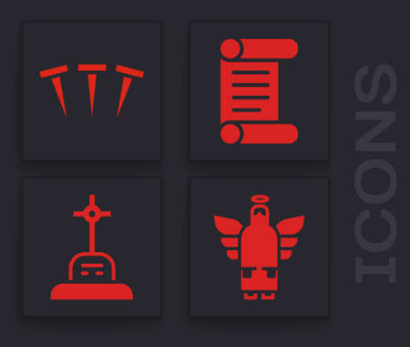Set Christmas angel, Metallic nails, Decree, parchment, scroll and Grave with cross icon. Vector. Ilustração