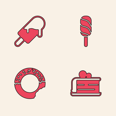 Set Piece of cake, Ice cream, and Donut icon. Vector.