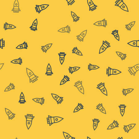 Blue line Rocket ship icon isolated seamless pattern on yellow background. Space travel. Vector Illustration. Ilustrace