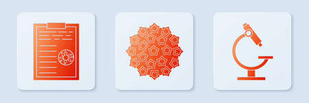 Set Virus, Clipboard with blood test results and Microscope. White square button. Vector.