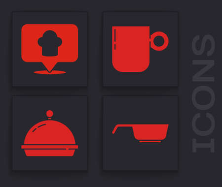 Set Frying pan, Chef hat with location, Coffee cup and Covered with tray of food icon. Vector.