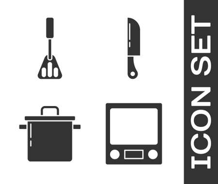 Set Electronic scales, Spatula, Cooking pot and Knife icon. Vector.