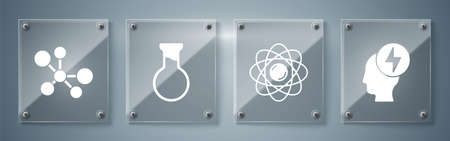 Set Head and electric symbol, Atom, Test tube and flask and Molecule. Square glass panels. Vector.