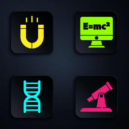 Set Telescope, Magnet, DNA symbol and Equation solution. Black square button. Vector. 矢量图像