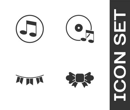 Set Bow tie, Music note, tone, Carnival garland with flags and Vinyl disk icon. Vector.