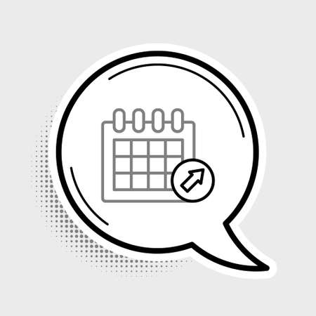 Line Calendar icon isolated on grey background. Event reminder symbol. Colorful outline concept. Vector  イラスト・ベクター素材