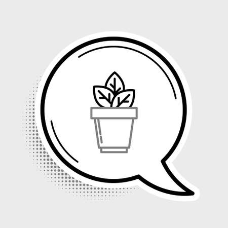 Line Flowers in pot icon isolated on grey background. Plant growing in a pot. Potted plant sign. Colorful outline concept. Vector