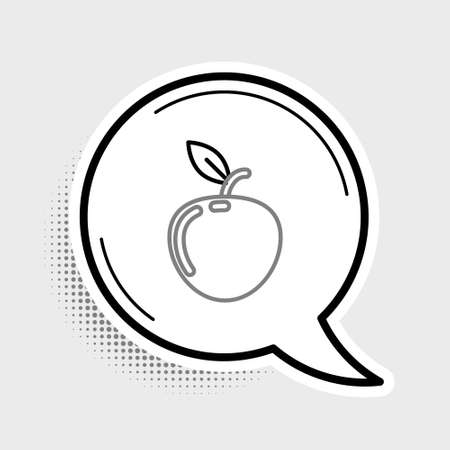 Line Apple icon isolated on grey background. Fruit with leaf symbol. Colorful outline concept. Vector  イラスト・ベクター素材