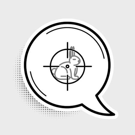 Line Hunt on rabbit with crosshairs icon isolated on grey background. Hunting club   with rabbit and target. Rifle lens aiming a hare. Colorful outline concept. Vector