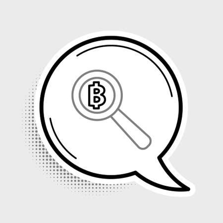 Line Magnifying glass with Bitcoin icon isolated on grey background. Physical bit coin. Blockchain based secure crypto currency. Colorful outline concept. Vector  イラスト・ベクター素材