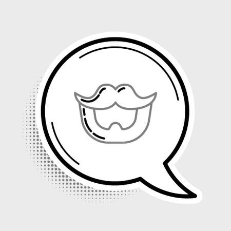Line Mustache and beard icon isolated on grey background. Barbershop symbol. Facial hair style. Colorful outline concept. Vector