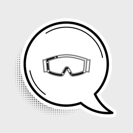 Line Ski goggles icon isolated on grey background. Extreme sport. Sport equipment. Colorful outline concept. Vector
