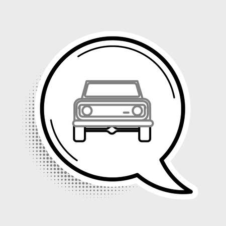 Line Off road car icon isolated on grey background.  Colorful outline concept. Vector