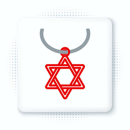 Line Star of David necklace on chain icon isolated on white background. Jewish religion symbol. Symbol of Israel. Jewellery and accessory. Colorful outline concept. Vector