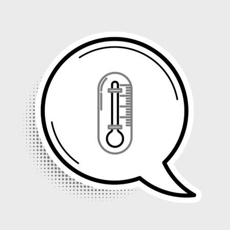 Line Thermometer icon isolated on grey background. Colorful outline concept. Vector  イラスト・ベクター素材